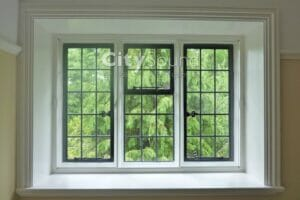 01. Secondary glazing fitted over this Georgian period window; Thermal insulation (Hampstead, North West london)