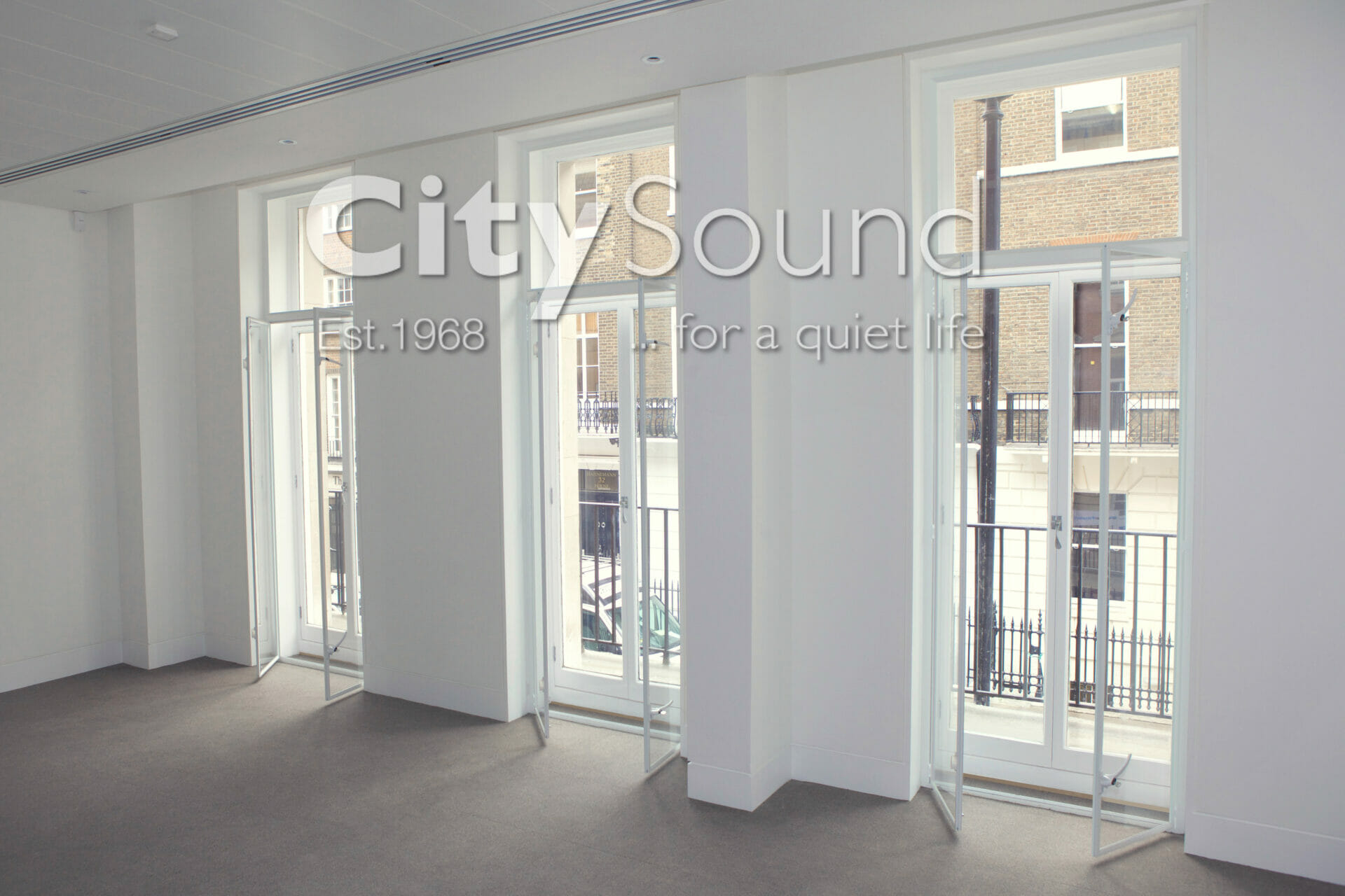 08. Casement (hinge) doors fitting over original balcony doors; Noise reduction (Marylebone, London)