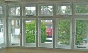 09. Casment (hinge) windows fitted to cover this box bay (London)