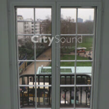 04. Commercial secondary glazing (Double doors) fitted. Glazed with thick acoustic glass for noise reduction (Mayfair, London)